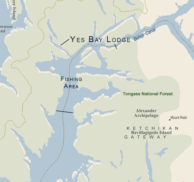 Yes Bay Lodge map location